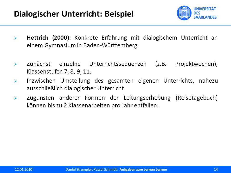 Dialogischer Unterricht: Beispiel  Hettrich (2000): Konkrete Erfahrung mit dialogischem Unterricht an einem Gymnasium in Baden-Württemberg  Zunächst einzelne Unterrichtssequenzen (z.B.