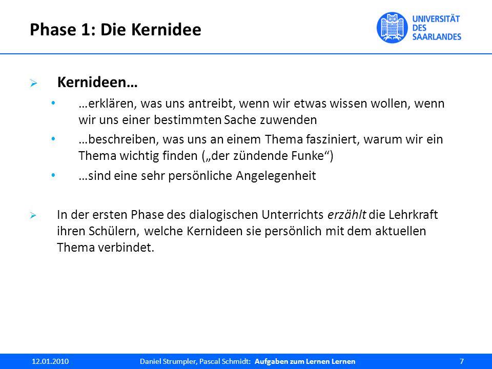 """Die """"etwas andere Aufgabe : Beispiel """"Beschreibe an einem von Dir gewählten Beispiel, wie Du bei der Methode der quadratischen Ergänzung vorgehst?  Notwendige Denkprozesse: Strukturierung eines Lösungswegs (der bekannt sein sollte) sprachliche Repräsentation von Heuristiken  Festigung und Vertiefung von Gelerntem 12.01.2010Daniel Strumpler, Pascal Schmidt: Aufgaben zum Lernen Lernen28"""
