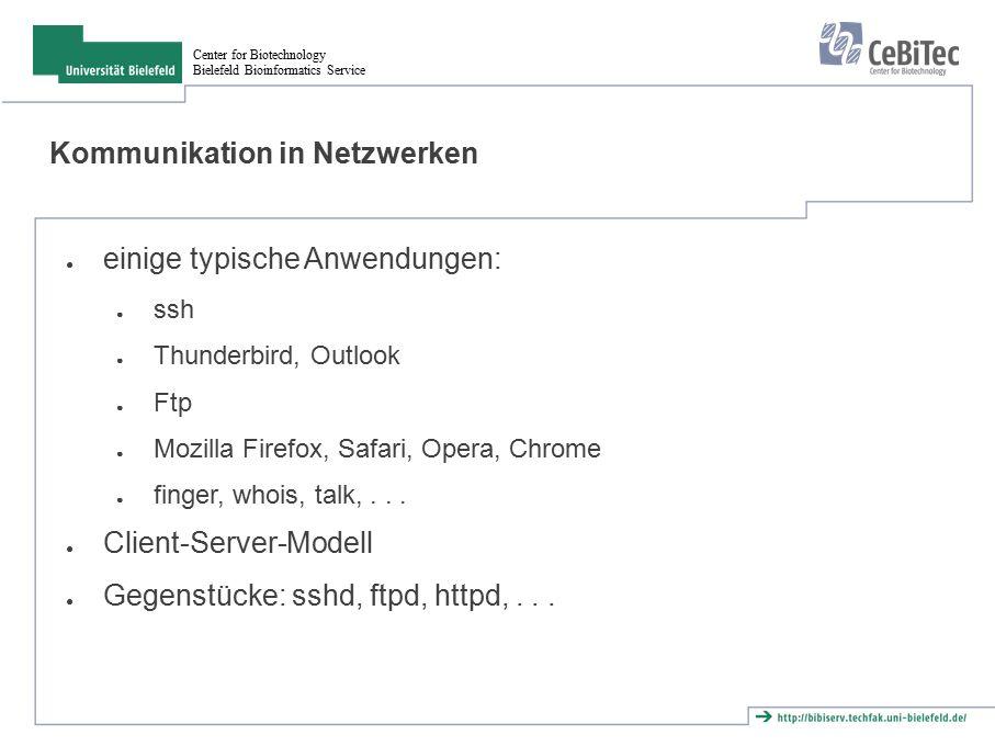 Center for Biotechnology Bielefeld Bioinformatics Service Kommunikation in Netzwerken ● einige typische Anwendungen: ● ssh ● Thunderbird, Outlook ● Ftp ● Mozilla Firefox, Safari, Opera, Chrome ● finger, whois, talk,...
