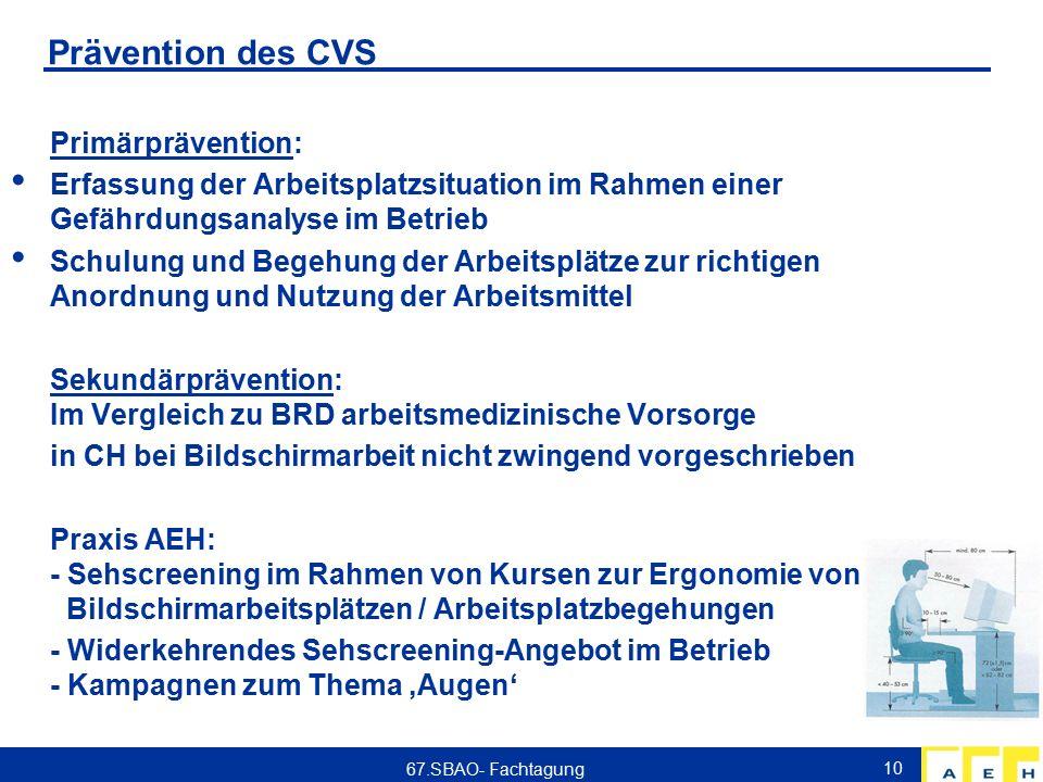 Prävention des CVS Primärprävention: Erfassung der Arbeitsplatzsituation im Rahmen einer Gefährdungsanalyse im Betrieb Schulung und Begehung der Arbei