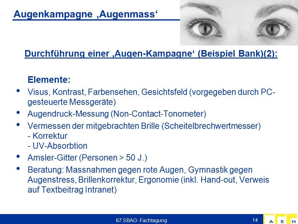 Augenkampagne 'Augenmass' Durchführung einer 'Augen-Kampagne' (Beispiel Bank)(2): Elemente: Visus, Kontrast, Farbensehen, Gesichtsfeld (vorgegeben durch PC- gesteuerte Messgeräte) Augendruck-Messung (Non-Contact-Tonometer) Vermessen der mitgebrachten Brille (Scheitelbrechwertmesser) - Korrektur - UV-Absorbtion Amsler-Gitter (Personen > 50 J.) Beratung: Massnahmen gegen rote Augen, Gymnastik gegen Augenstress, Brillenkorrektur, Ergonomie (inkl.