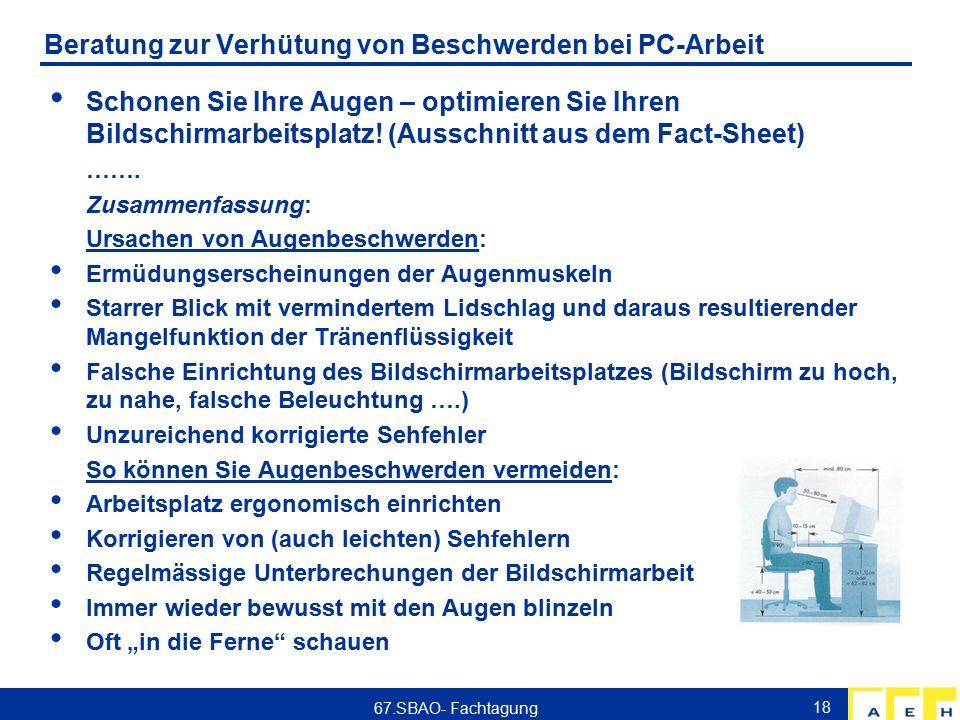 AEH Zentrum für Arbeitsmedizin, Ergonomie und Hygiene AG Workshop ...
