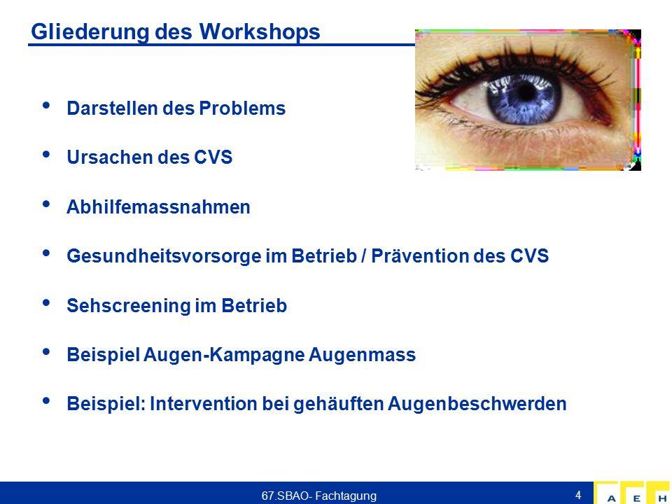 Umschreibung des Problems Computer Vision Syndrom: Augenbeschwerden in Folge langdauernder Bildschirmarbeit - müde Augen - Augenrötung - trockene Augen - brennende, schmerzende Augen - tränende Augen - 'abnehmende Sehkraft' - verschwommenes Sehen - Doppelsehen - Kopfschmerzen 64% - 90% der Bildschirmarbeitenden beklagen Augensymptome Zudem: Produktivitätsverlust 67.SBAO- Fachtagung 5