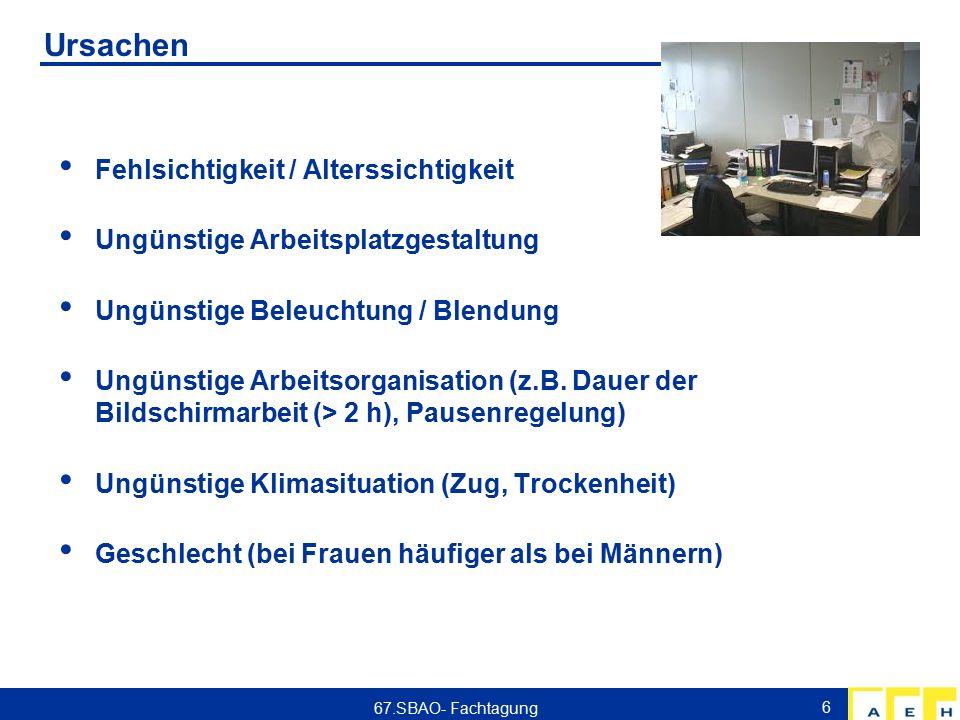 Ursachen Fehlsichtigkeit / Alterssichtigkeit Ungünstige Arbeitsplatzgestaltung Ungünstige Beleuchtung / Blendung Ungünstige Arbeitsorganisation (z.B.