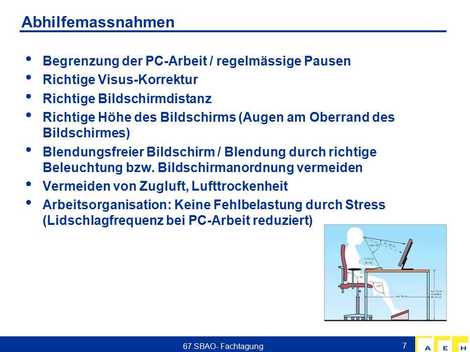 Abhilfemassnahmen Begrenzung der PC-Arbeit / regelmässige Pausen Richtige Visus-Korrektur Richtige Bildschirmdistanz Richtige Höhe des Bildschirms (Augen am Oberrand des Bildschirmes) Blendungsfreier Bildschirm / Blendung durch richtige Beleuchtung bzw.
