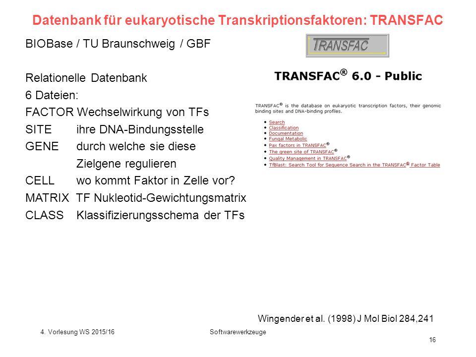 Softwarewerkzeuge 16 Datenbank für eukaryotische Transkriptionsfaktoren: TRANSFAC BIOBase / TU Braunschweig / GBF Relationelle Datenbank 6 Dateien: FACTOR Wechselwirkung von TFs SITE ihre DNA-Bindungsstelle GENE durch welche sie diese Zielgene regulieren CELL wo kommt Faktor in Zelle vor.