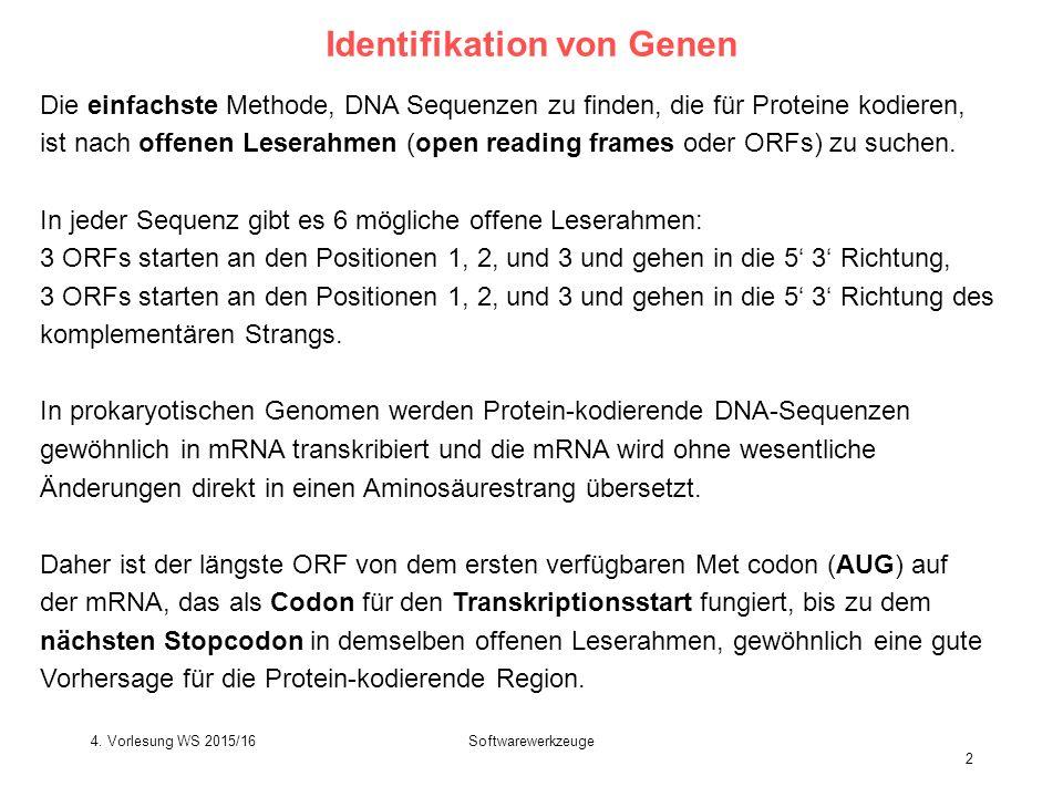 Softwarewerkzeuge 2 Identifikation von Genen Die einfachste Methode, DNA Sequenzen zu finden, die für Proteine kodieren, ist nach offenen Leserahmen (open reading frames oder ORFs) zu suchen.