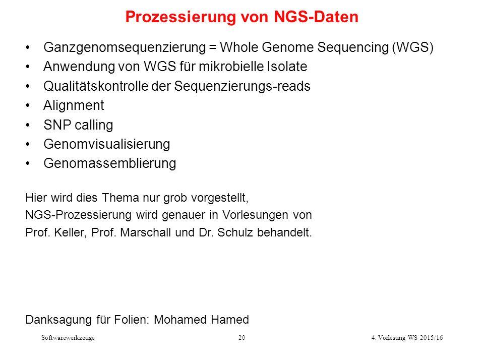 Softwarewerkzeuge20 Prozessierung von NGS-Daten Ganzgenomsequenzierung = Whole Genome Sequencing (WGS) Anwendung von WGS für mikrobielle Isolate Qualitätskontrolle der Sequenzierungs-reads Alignment SNP calling Genomvisualisierung Genomassemblierung Hier wird dies Thema nur grob vorgestellt, NGS-Prozessierung wird genauer in Vorlesungen von Prof.