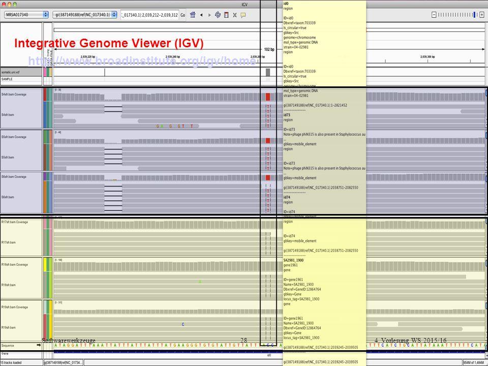 4. Vorlesung WS 2015/1628Softwarewerkzeuge Integrative Genome Viewer (IGV) http://www.broadinstitute.org/igv/home