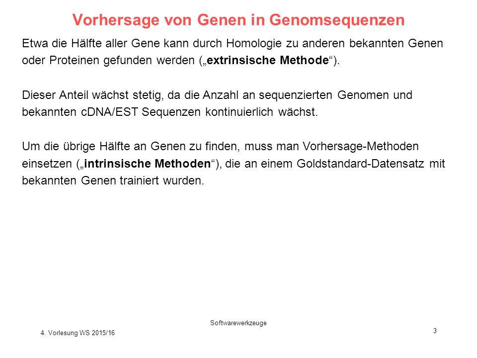"""Softwarewerkzeuge 3 Vorhersage von Genen in Genomsequenzen Etwa die Hälfte aller Gene kann durch Homologie zu anderen bekannten Genen oder Proteinen gefunden werden (""""extrinsische Methode )."""