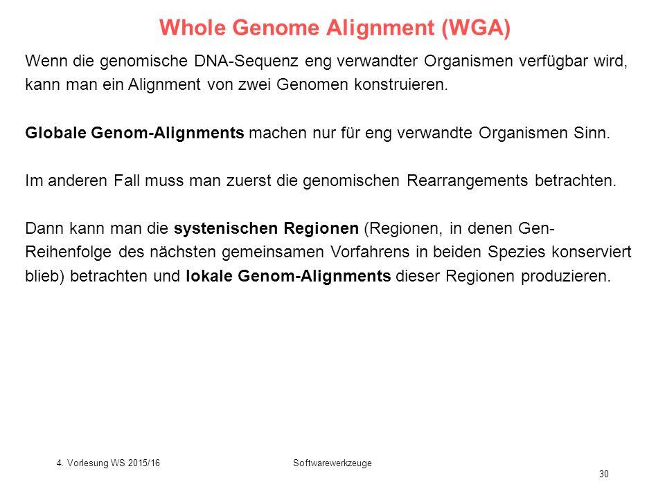 Softwarewerkzeuge 30 Whole Genome Alignment (WGA) Wenn die genomische DNA-Sequenz eng verwandter Organismen verfügbar wird, kann man ein Alignment von zwei Genomen konstruieren.