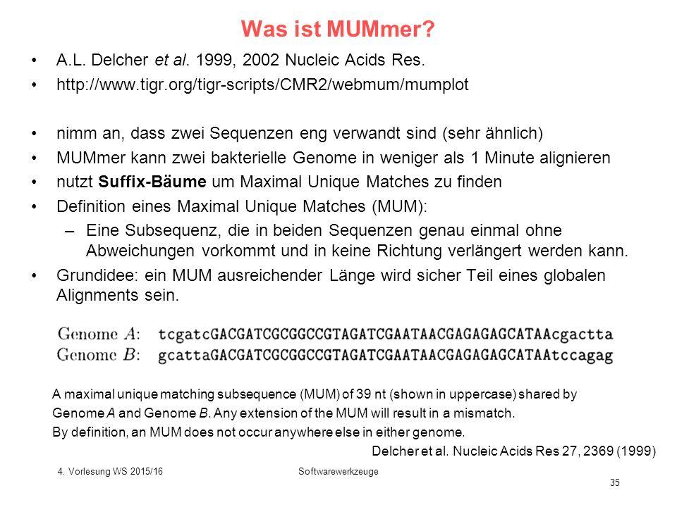 Softwarewerkzeuge 35 Was ist MUMmer.A.L. Delcher et al.