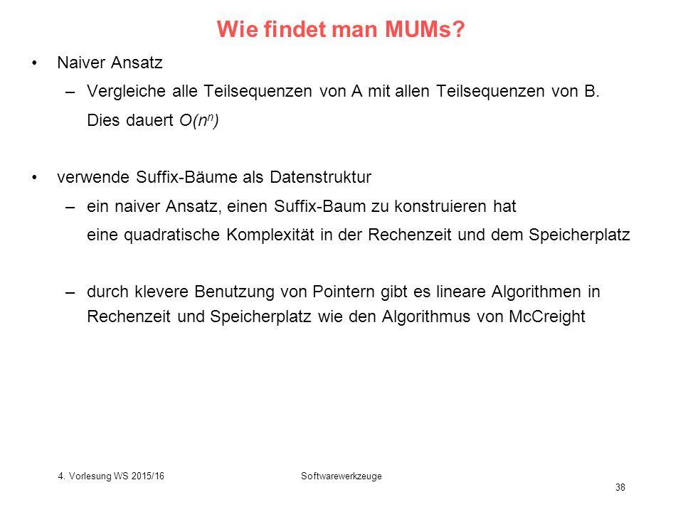 Softwarewerkzeuge 38 Wie findet man MUMs.