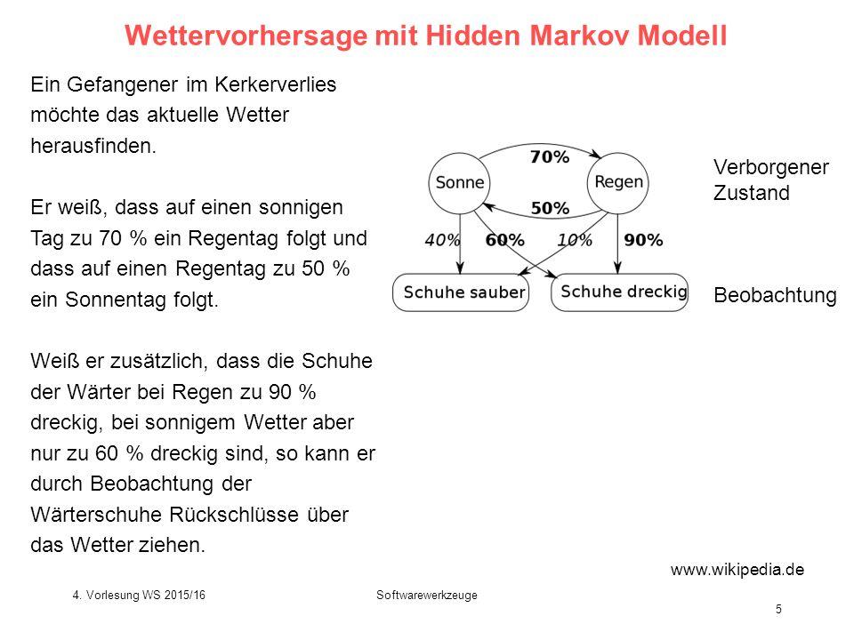 Softwarewerkzeuge 5 Wettervorhersage mit Hidden Markov Modell Ein Gefangener im Kerkerverlies möchte das aktuelle Wetter herausfinden.