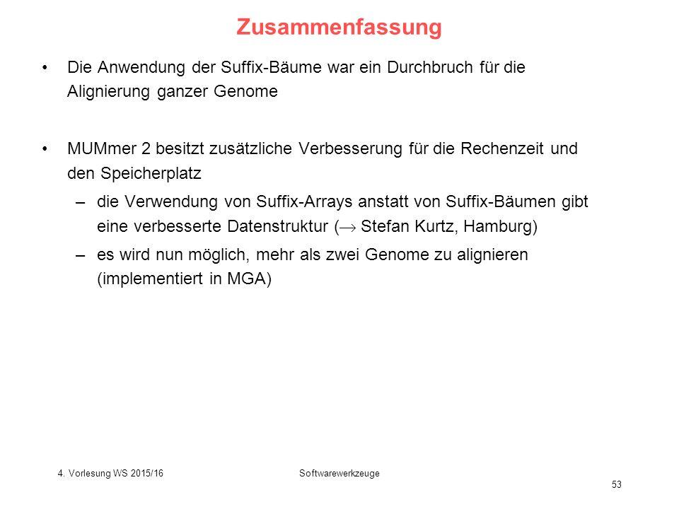 Softwarewerkzeuge 53 Zusammenfassung Die Anwendung der Suffix-Bäume war ein Durchbruch für die Alignierung ganzer Genome MUMmer 2 besitzt zusätzliche Verbesserung für die Rechenzeit und den Speicherplatz –die Verwendung von Suffix-Arrays anstatt von Suffix-Bäumen gibt eine verbesserte Datenstruktur (  Stefan Kurtz, Hamburg) –es wird nun möglich, mehr als zwei Genome zu alignieren (implementiert in MGA) 4.