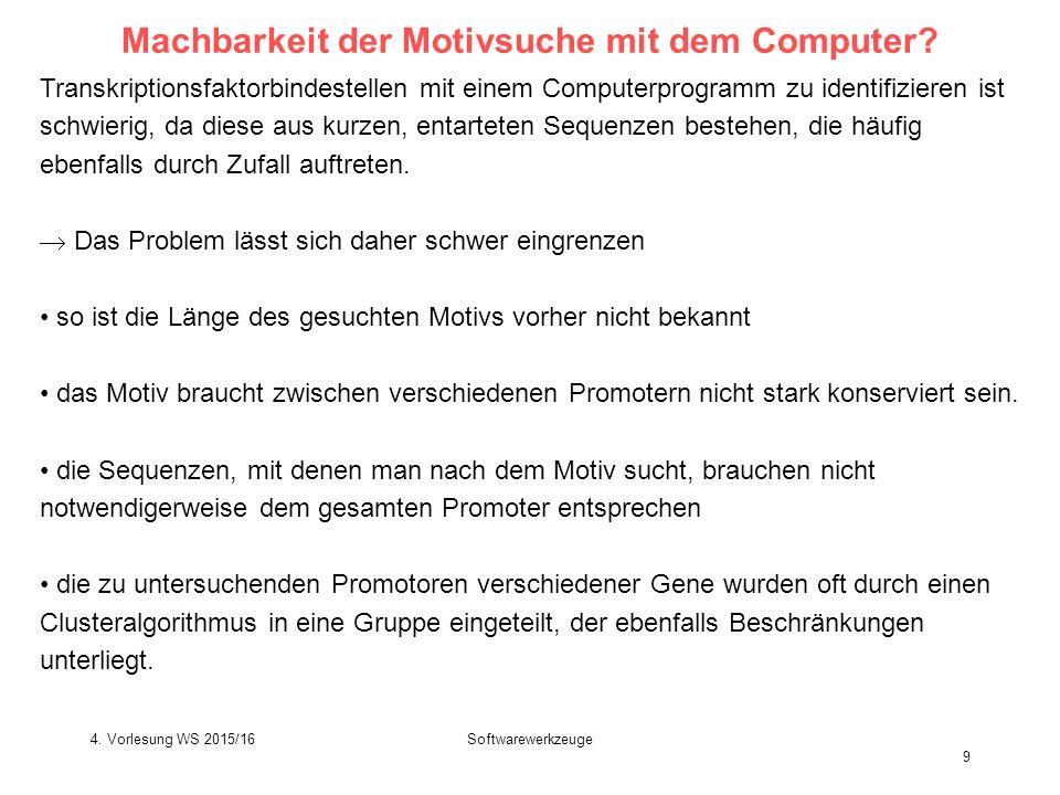 Softwarewerkzeuge 9 Machbarkeit der Motivsuche mit dem Computer.