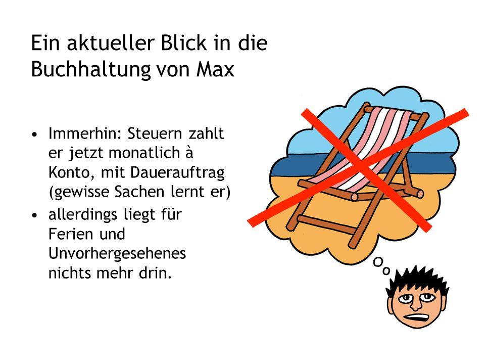 Ein aktueller Blick in die Buchhaltung von Max Immerhin: Steuern zahlt er jetzt monatlich à Konto, mit Dauerauftrag (gewisse Sachen lernt er) allerdings liegt für Ferien und Unvorhergesehenes nichts mehr drin.