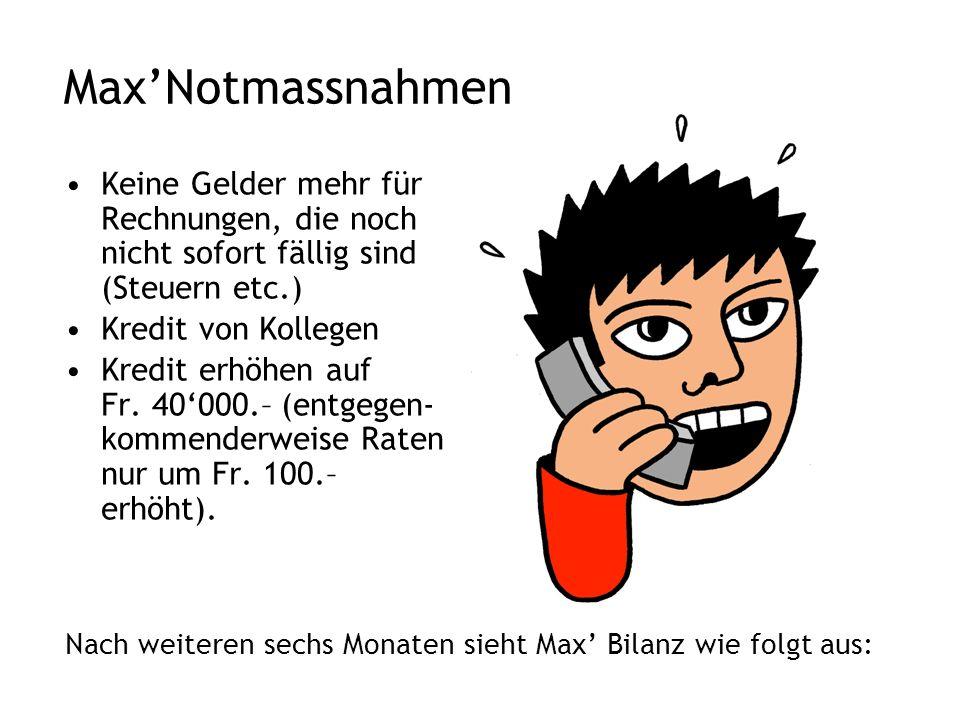 Max'Notmassnahmen Keine Gelder mehr für Rechnungen, die noch nicht sofort fällig sind (Steuern etc.) Kredit von Kollegen Kredit erhöhen auf Fr.