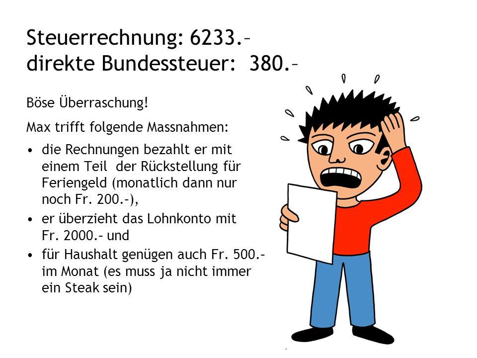 Steuerrechnung: 6233.– direkte Bundessteuer: 380.– Böse Überraschung.