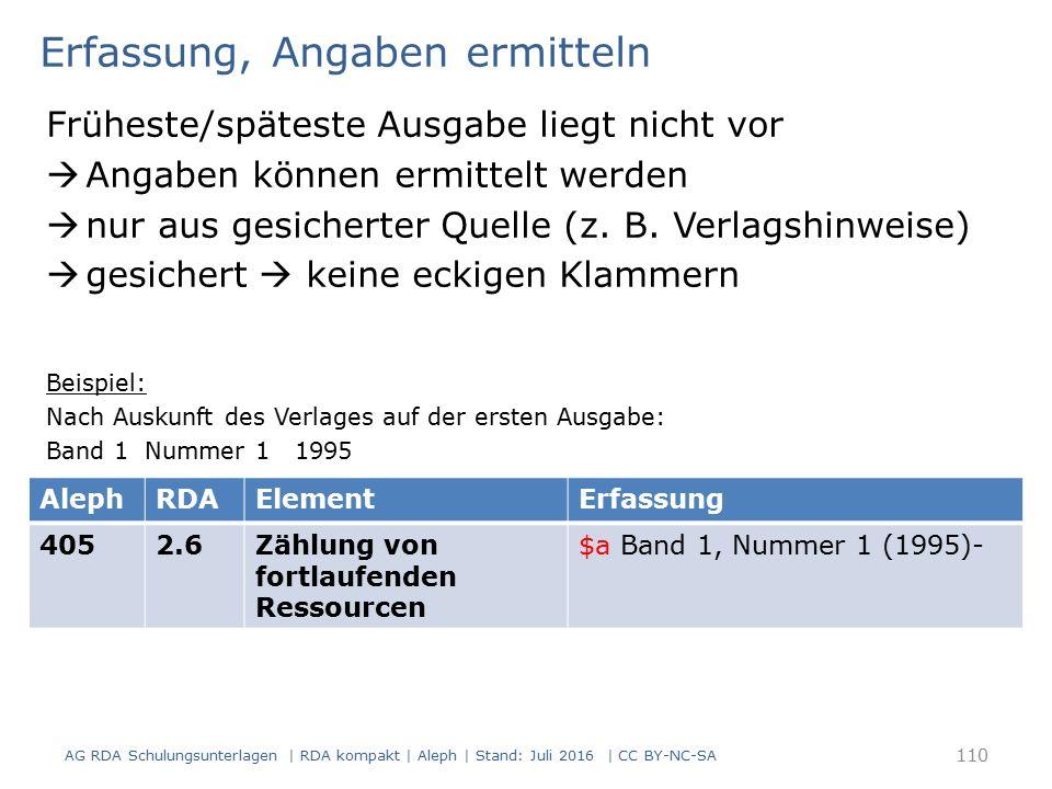 Erfassung, Angaben ermitteln Früheste/späteste Ausgabe liegt nicht vor  Angaben können ermittelt werden  nur aus gesicherter Quelle (z.