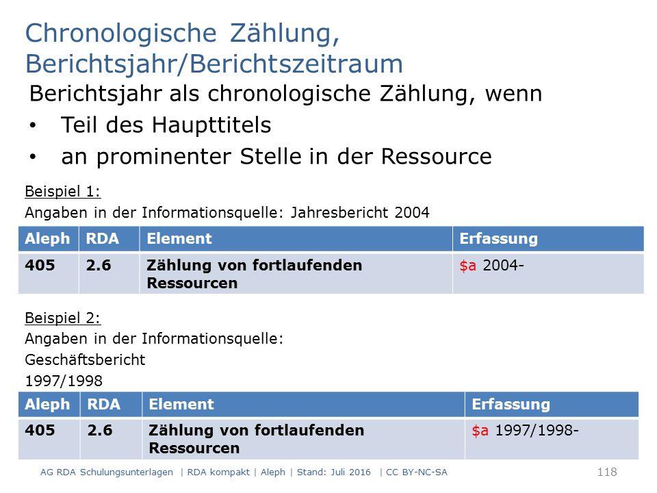 Chronologische Zählung, Berichtsjahr/Berichtszeitraum Berichtsjahr als chronologische Zählung, wenn Teil des Haupttitels an prominenter Stelle in der Ressource Beispiel 1: Angaben in der Informationsquelle: Jahresbericht 2004 Beispiel 2: Angaben in der Informationsquelle: Geschäftsbericht 1997/1998 118 AlephRDAElementErfassung 4052.6Zählung von fortlaufenden Ressourcen $a 2004- AlephRDAElementErfassung 4052.6Zählung von fortlaufenden Ressourcen $a 1997/1998- AG RDA Schulungsunterlagen | RDA kompakt | Aleph | Stand: Juli 2016 | CC BY-NC-SA
