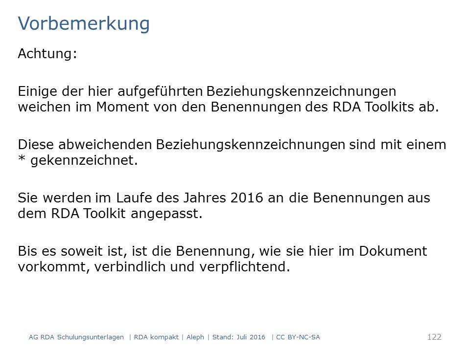 Vorbemerkung Achtung: Einige der hier aufgeführten Beziehungskennzeichnungen weichen im Moment von den Benennungen des RDA Toolkits ab. Diese abweiche