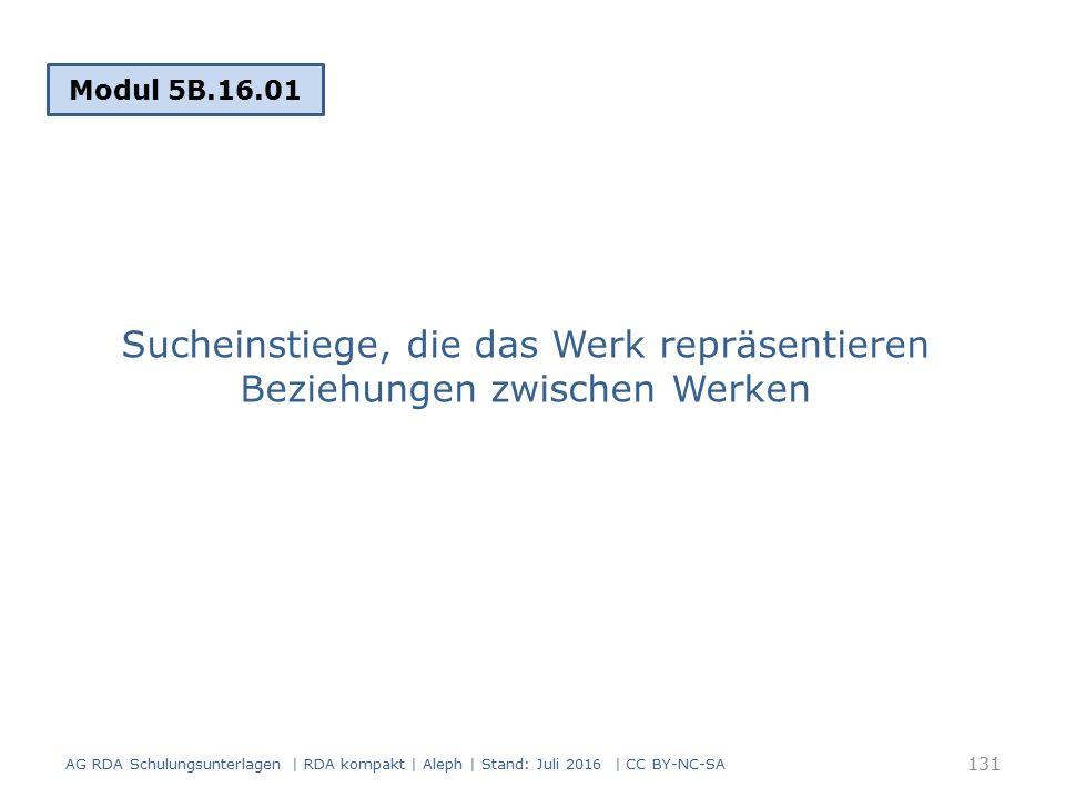 Sucheinstiege, die das Werk repräsentieren Beziehungen zwischen Werken Modul 5B.16.01 131 AG RDA Schulungsunterlagen | RDA kompakt | Aleph | Stand: Juli 2016 | CC BY-NC-SA