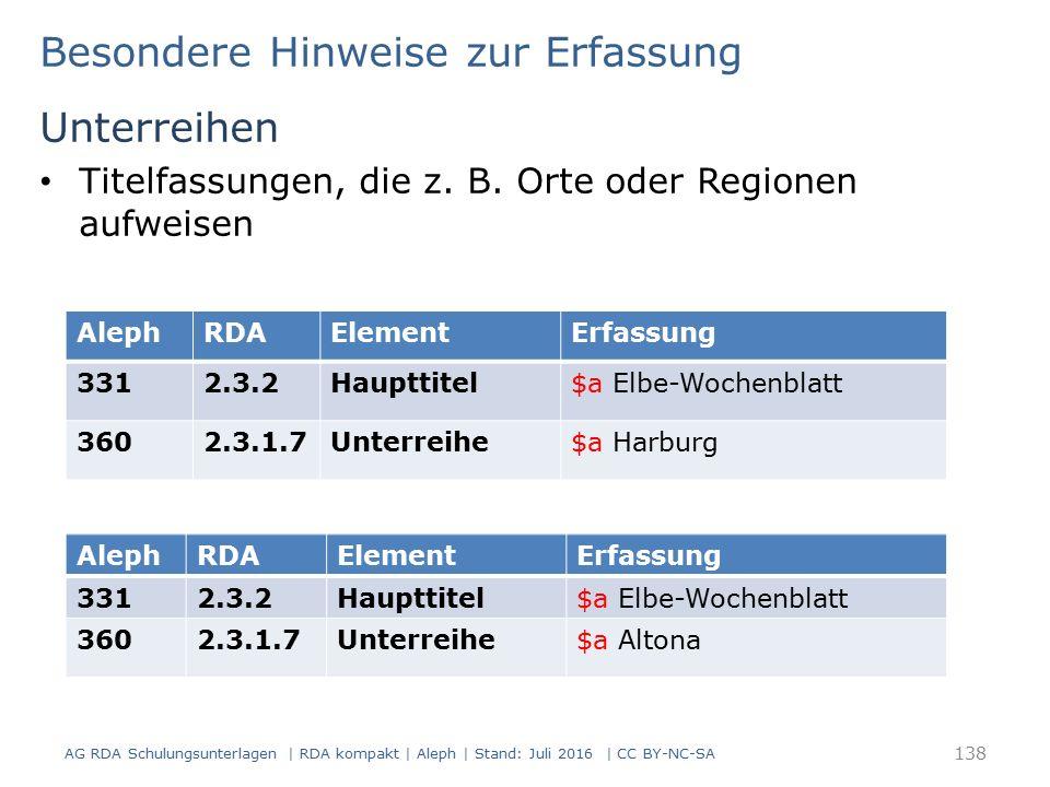 Besondere Hinweise zur Erfassung Unterreihen Titelfassungen, die z. B. Orte oder Regionen aufweisen AlephRDAElementErfassung 3312.3.2Haupttitel$a Elbe