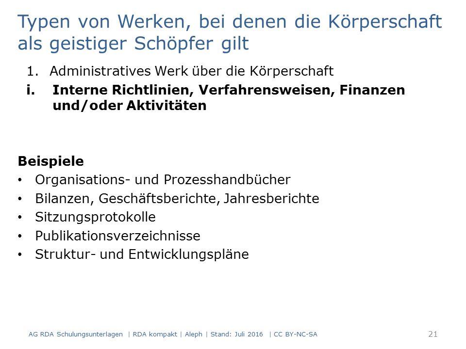21 Typen von Werken, bei denen die Körperschaft als geistiger Schöpfer gilt 1.Administratives Werk über die Körperschaft i.Interne Richtlinien, Verfah