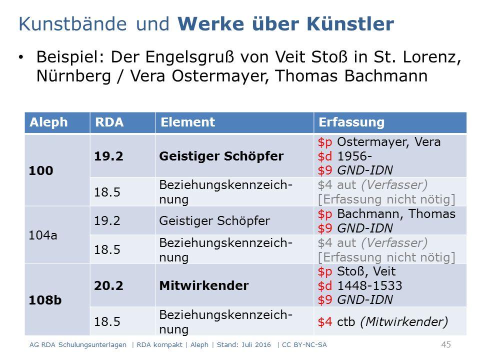 Beispiel: Der Engelsgruß von Veit Stoß in St. Lorenz, Nürnberg / Vera Ostermayer, Thomas Bachmann AlephRDAElementErfassung 100 19.2Geistiger Schöpfer