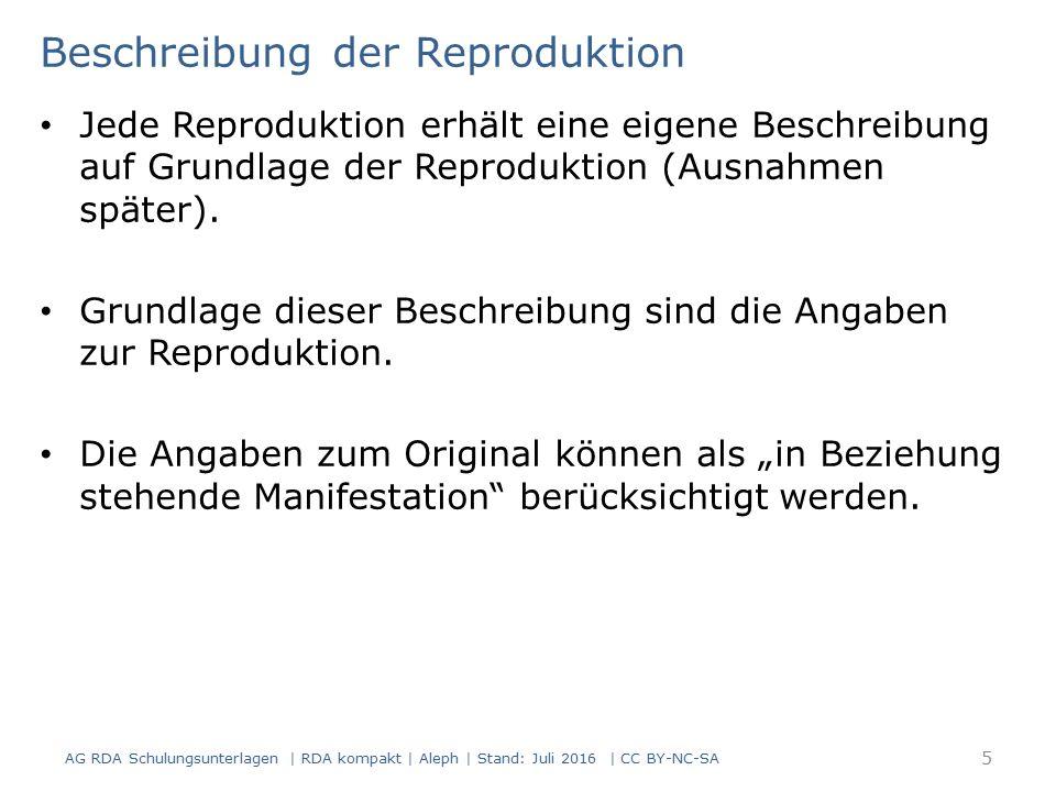 Beschreibung der Reproduktion Jede Reproduktion erhält eine eigene Beschreibung auf Grundlage der Reproduktion (Ausnahmen später). Grundlage dieser Be