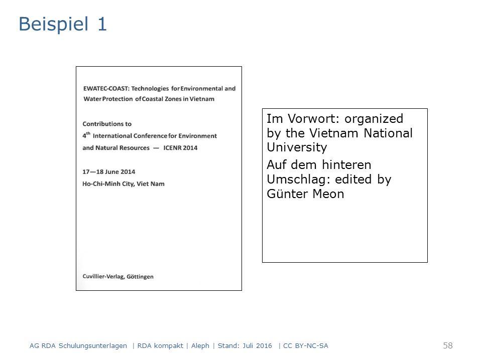Im Vorwort: organized by the Vietnam National University Auf dem hinteren Umschlag: edited by Günter Meon Titelblatt(scan) Beispiel 1 AG RDA Schulungs
