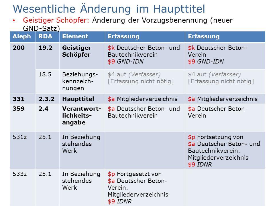 AG RDA Schulungsunterlagen | RDA kompakt | Aleph | Stand: Juli 2016 | CC BY-NC-SA 84 AlephRDAElementErfassung 20019.2Geistiger Schöpfer $k Deutscher B