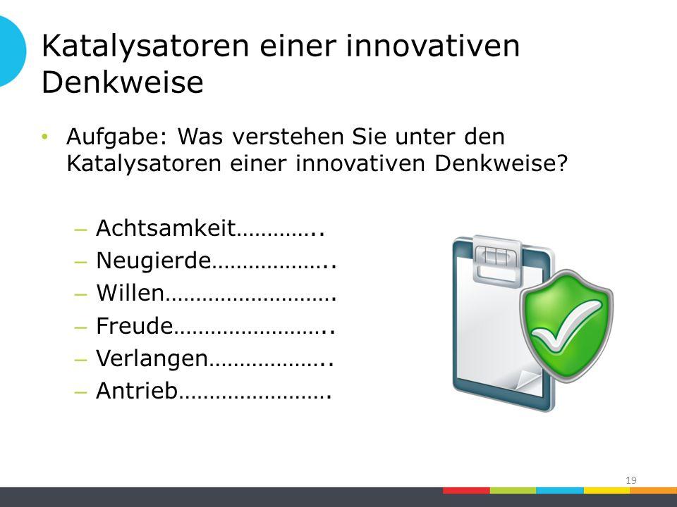 Katalysatoren einer innovativen Denkweise Aufgabe: Was verstehen Sie unter den Katalysatoren einer innovativen Denkweise.