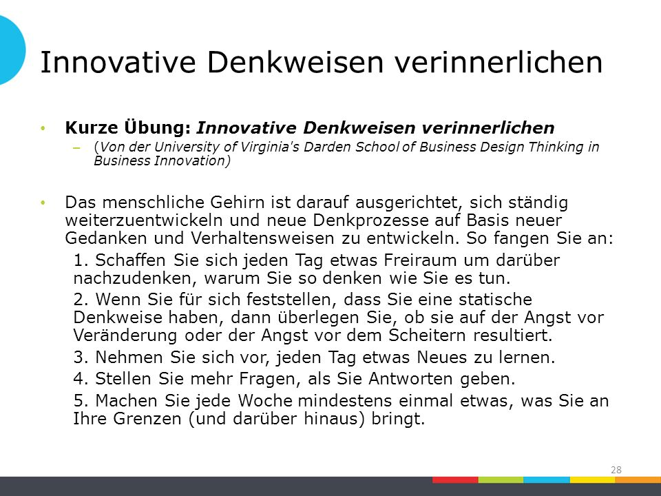 Innovative Denkweisen verinnerlichen Kurze Übung: Innovative Denkweisen verinnerlichen – (Von der University of Virginia's Darden School of Business D