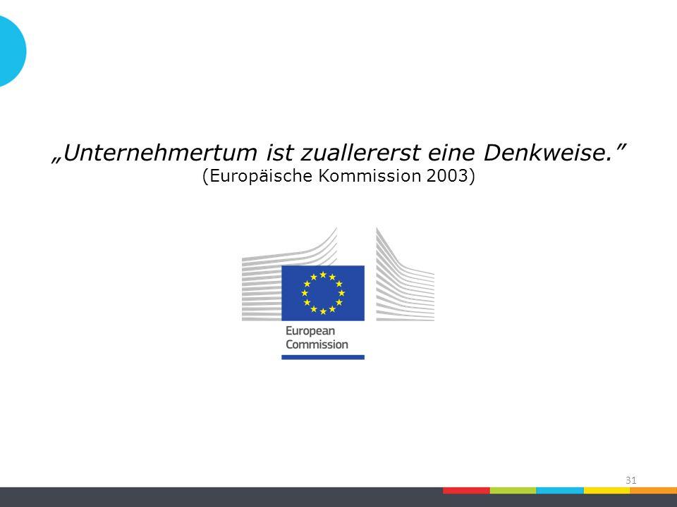 """""""Unternehmertum ist zuallererst eine Denkweise. (Europäische Kommission 2003) 31"""