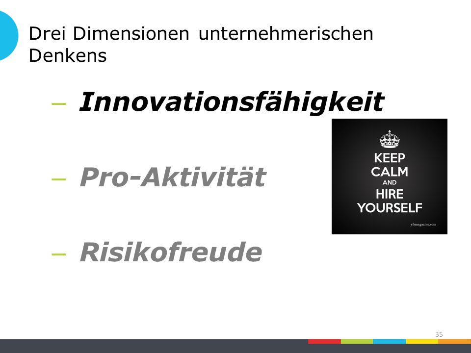 Drei Dimensionen unternehmerischen Denkens – Innovationsfähigkeit – Pro-Aktivität – Risikofreude 35