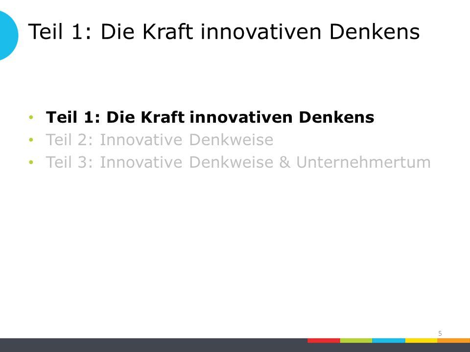 Teil 1: Die Kraft innovativen Denkens Teil 2: Innovative Denkweise Teil 3: Innovative Denkweise & Unternehmertum 5