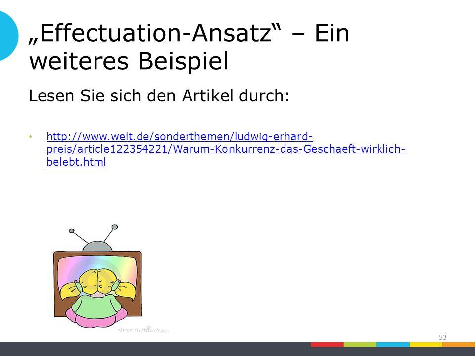"""""""Effectuation-Ansatz – Ein weiteres Beispiel Lesen Sie sich den Artikel durch: http://www.welt.de/sonderthemen/ludwig-erhard- preis/article122354221/Warum-Konkurrenz-das-Geschaeft-wirklich- belebt.html http://www.welt.de/sonderthemen/ludwig-erhard- preis/article122354221/Warum-Konkurrenz-das-Geschaeft-wirklich- belebt.html 53"""
