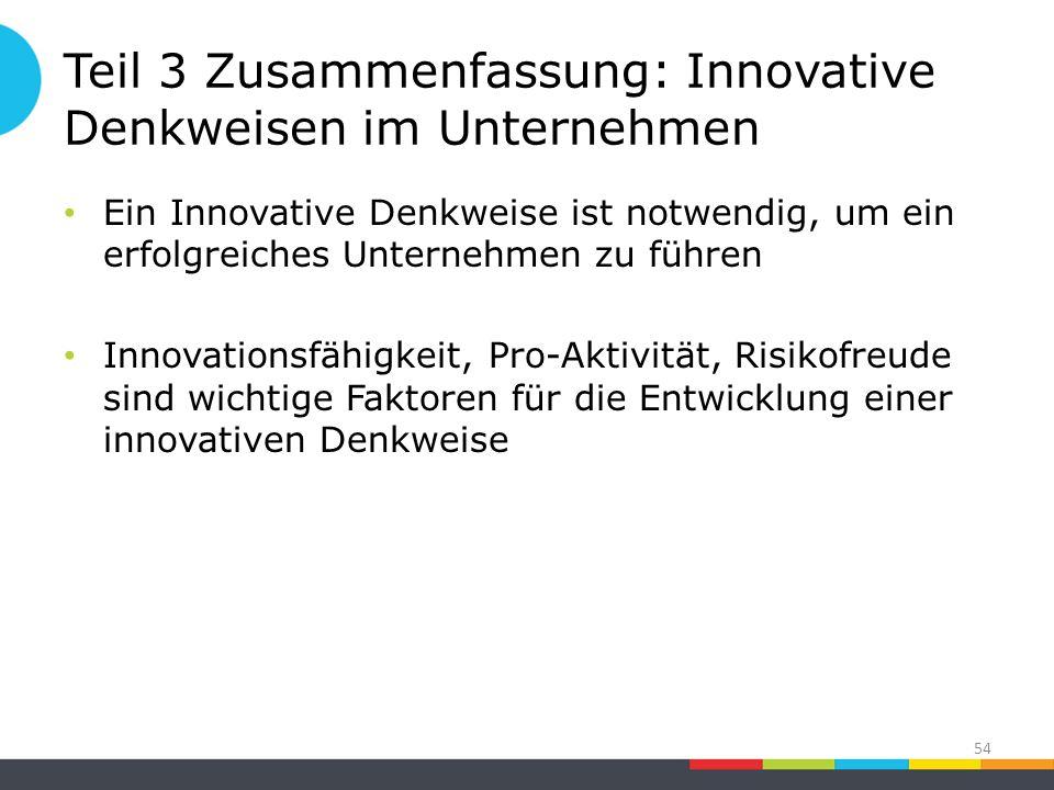 Teil 3 Zusammenfassung: Innovative Denkweisen im Unternehmen Ein Innovative Denkweise ist notwendig, um ein erfolgreiches Unternehmen zu führen Innovationsfähigkeit, Pro-Aktivität, Risikofreude sind wichtige Faktoren für die Entwicklung einer innovativen Denkweise 54