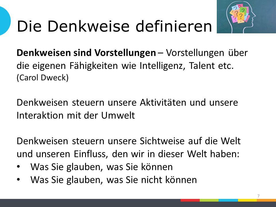 Die Denkweise definieren 7 Denkweisen sind Vorstellungen – Vorstellungen über die eigenen Fähigkeiten wie Intelligenz, Talent etc.