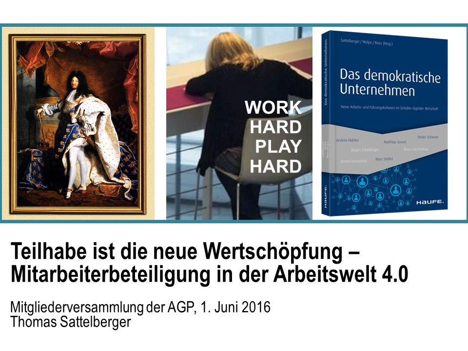 Teilhabe ist die neue Wertschöpfung – Mitarbeiterbeteiligung in der Arbeitswelt 4.0 Mitgliederversammlung der AGP, 1.