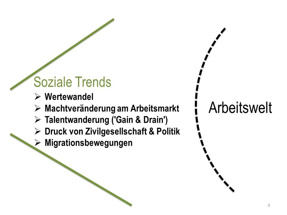 Soziale Trends Arbeitswelt  Wertewandel  Machtveränderung am Arbeitsmarkt  Talentwanderung ( Gain & Drain )  Druck von Zivilgesellschaft & Politik  Migrationsbewegungen 4