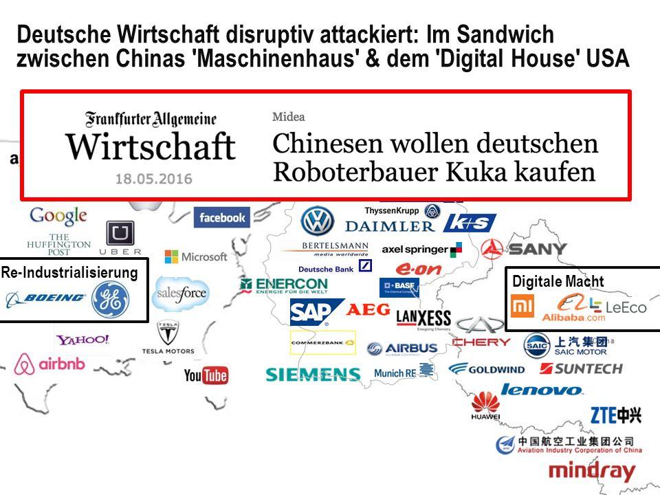 Deutsche Wirtschaft disruptiv attackiert: Im Sandwich zwischen Chinas Maschinenhaus & dem Digital House USA 7 7 Re-Industrialisierung Digitale Macht