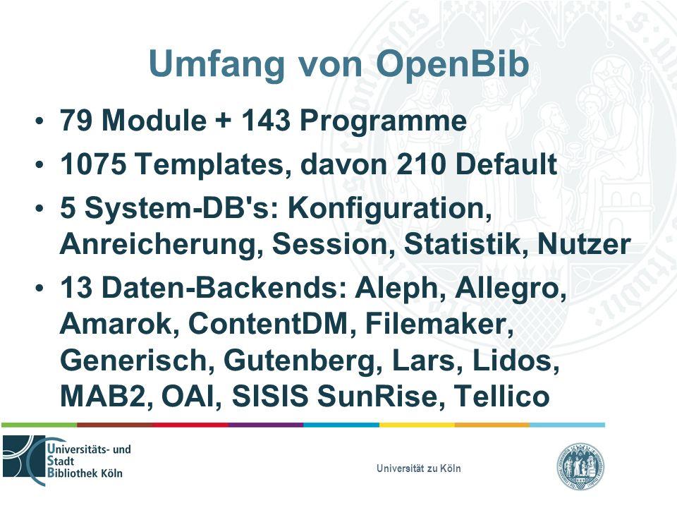 Universität zu Köln Umfang von OpenBib 79 Module + 143 Programme 1075 Templates, davon 210 Default 5 System-DB's: Konfiguration, Anreicherung, Session