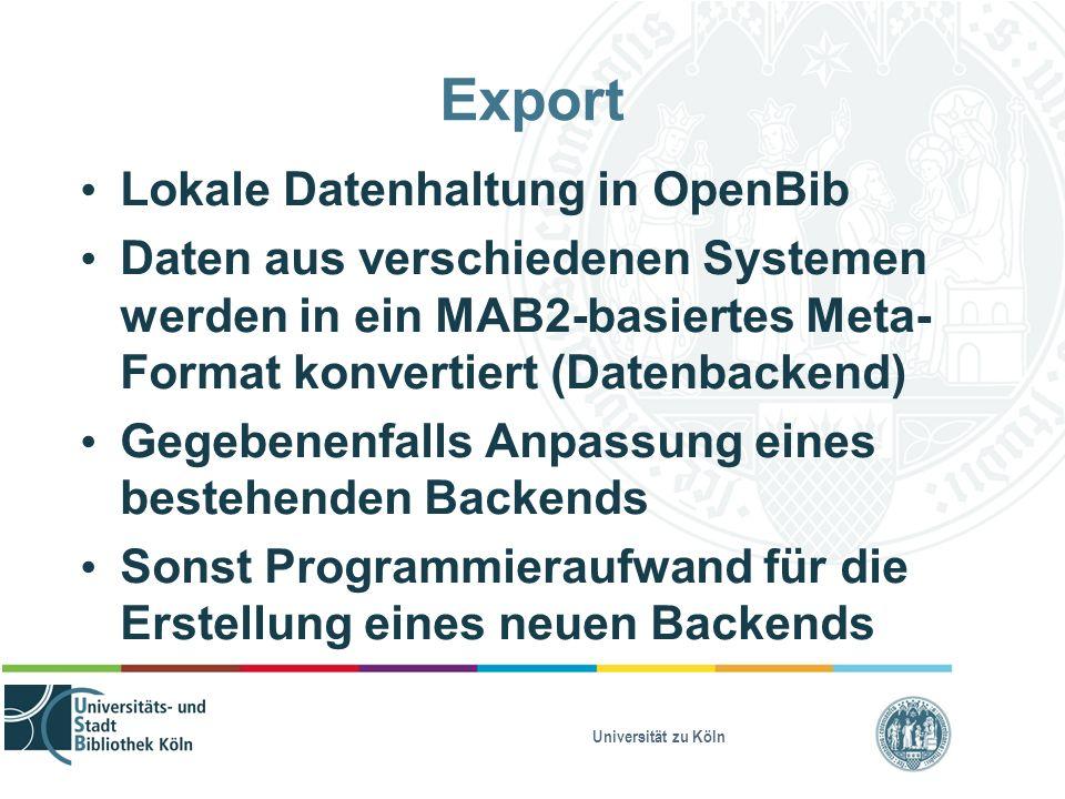 Universität zu Köln Export Lokale Datenhaltung in OpenBib Daten aus verschiedenen Systemen werden in ein MAB2-basiertes Meta- Format konvertiert (Date