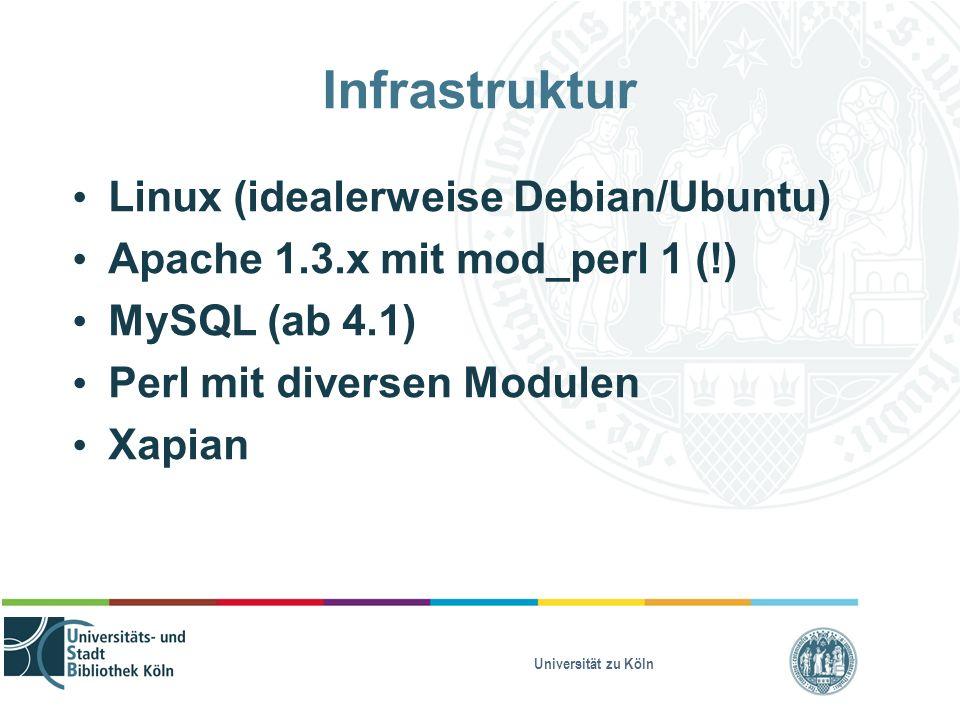 Universität zu Köln Infrastruktur Linux (idealerweise Debian/Ubuntu) Apache 1.3.x mit mod_perl 1 (!) MySQL (ab 4.1) Perl mit diversen Modulen Xapian