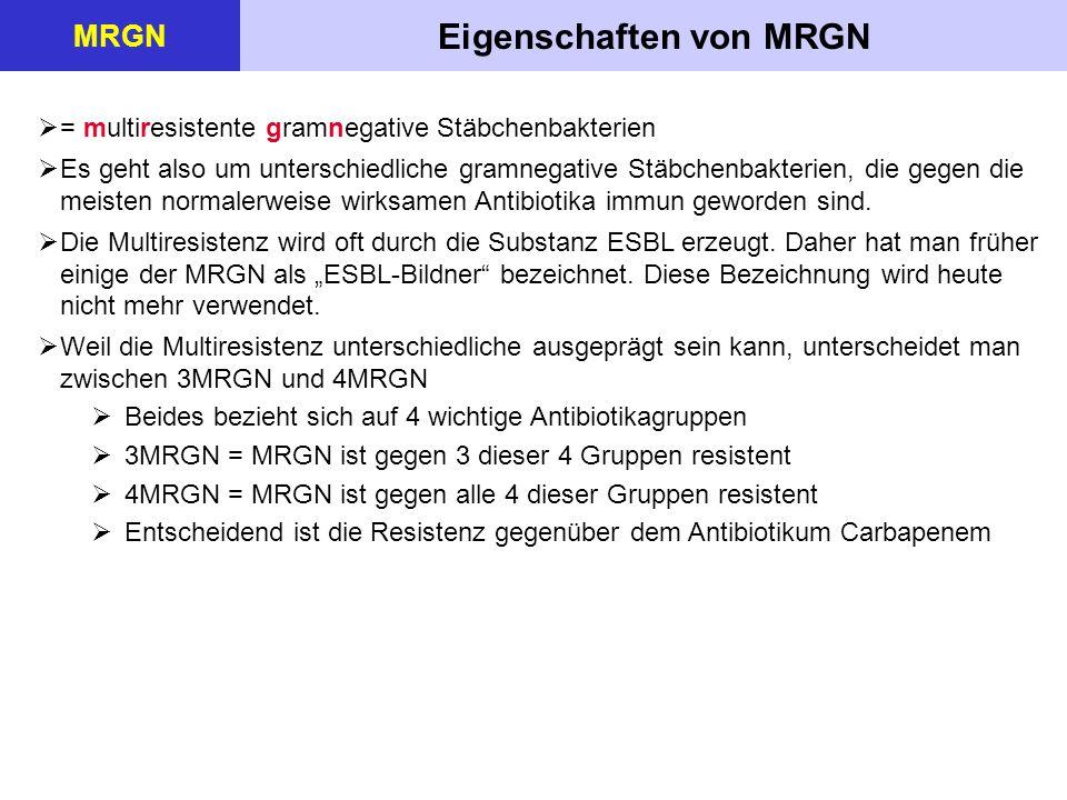 Eigenschaften von MRGN MRGN  = multiresistente gramnegative Stäbchenbakterien  Es geht also um unterschiedliche gramnegative Stäbchenbakterien, die gegen die meisten normalerweise wirksamen Antibiotika immun geworden sind.