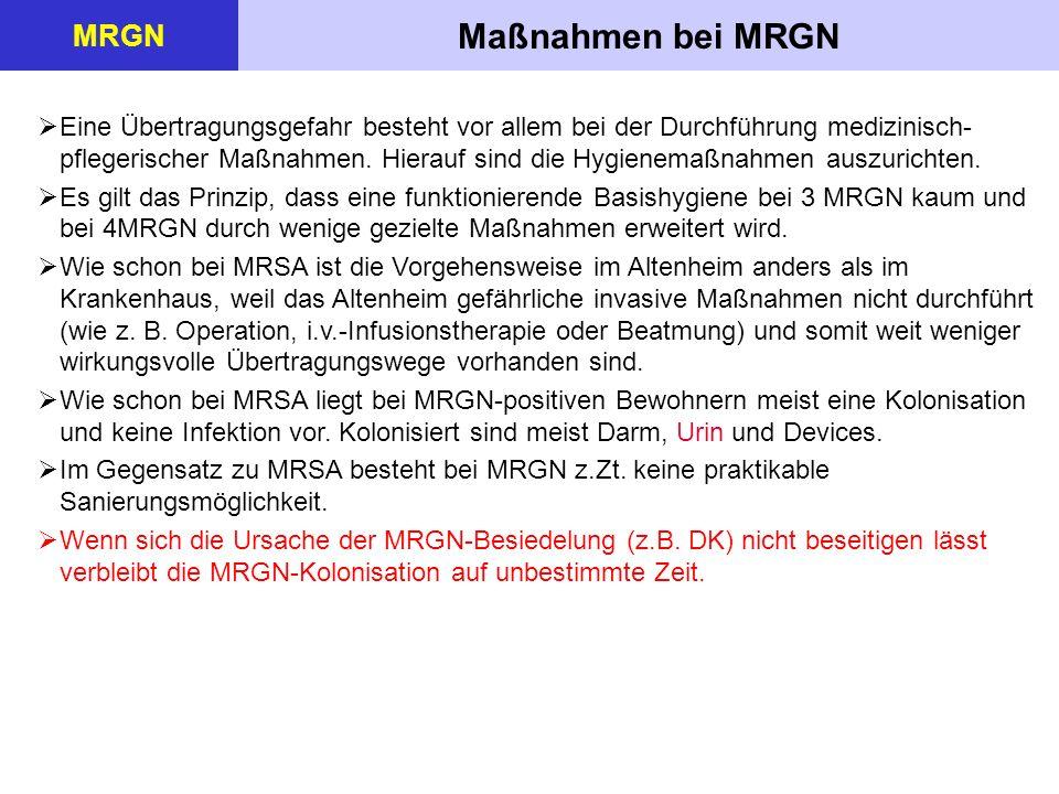 Maßnahmen der Basishygiene MRGN  Händehygiene o Beachtung der 5 Indikationen o Alkoholisches Mittel (VAH-gelistet), 30 Sek.