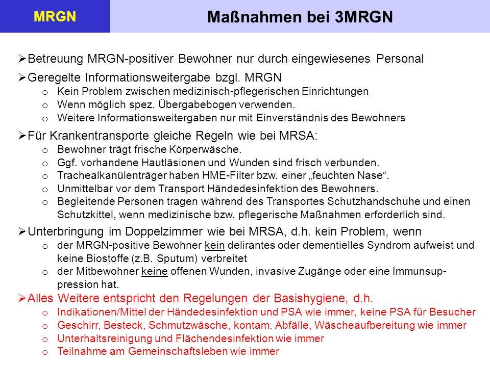 Maßnahmen bei 3MRGN MRGN  Betreuung MRGN-positiver Bewohner nur durch eingewiesenes Personal  Geregelte Informationsweitergabe bzgl.